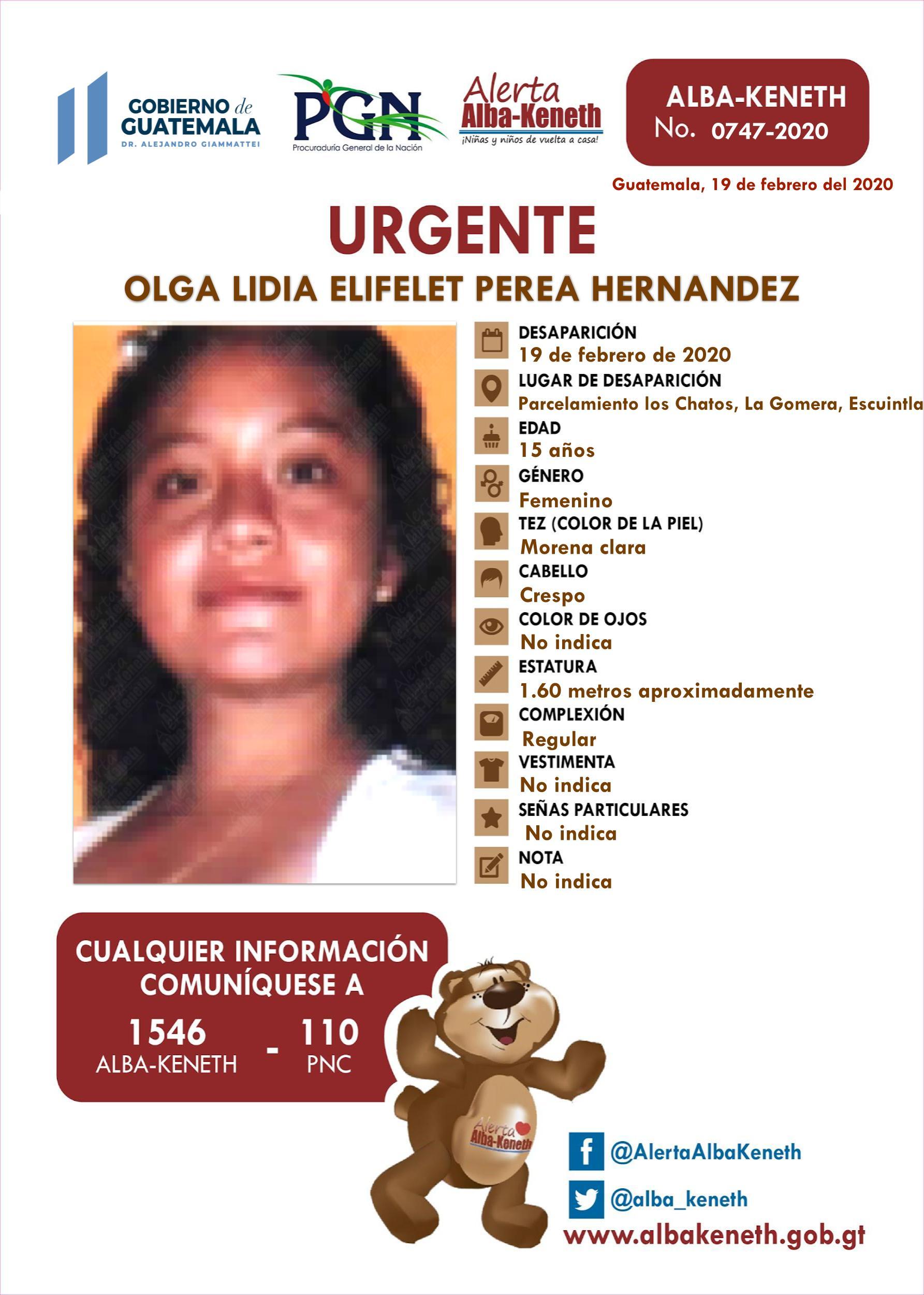 Olga Lidia Elifelet Perea Hernandez