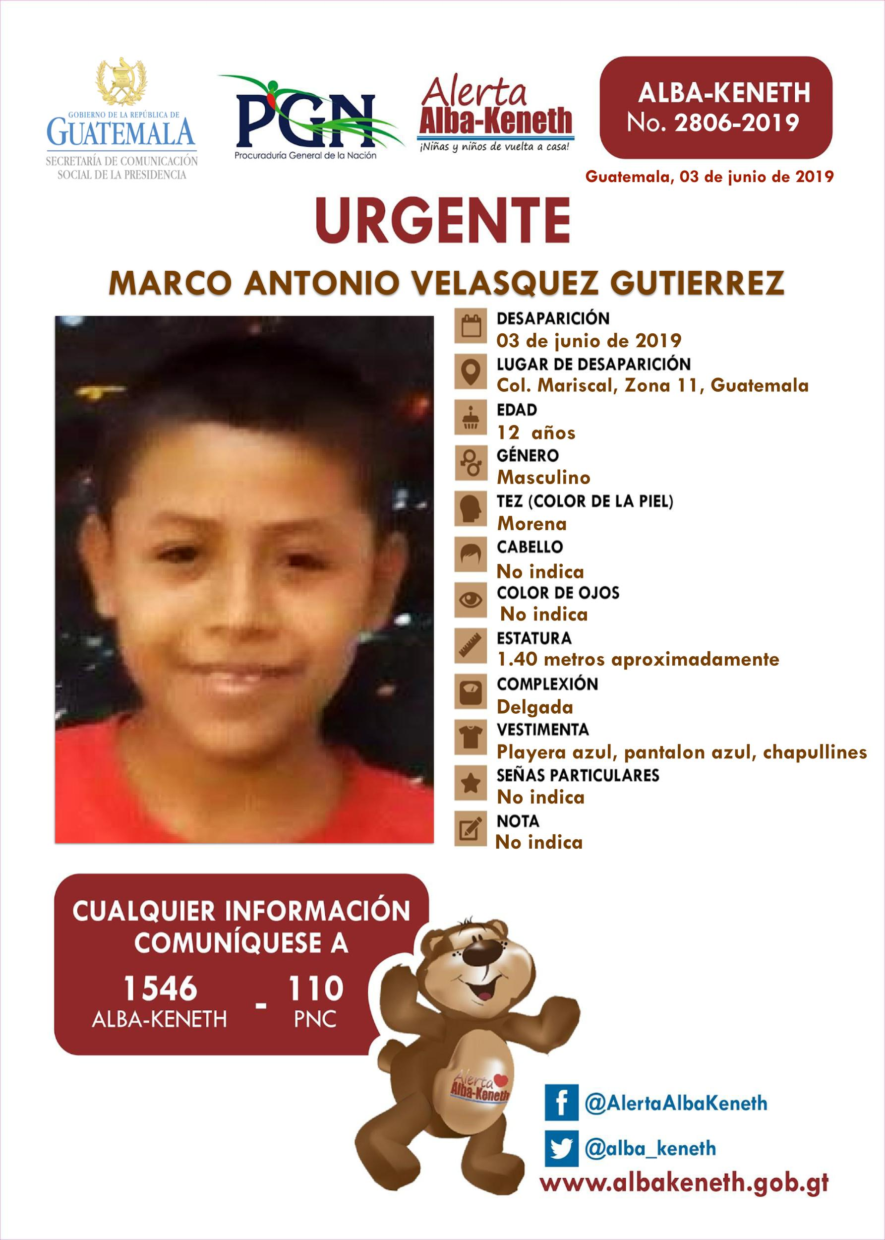 Marco Antonio Velasquez Gutierrez