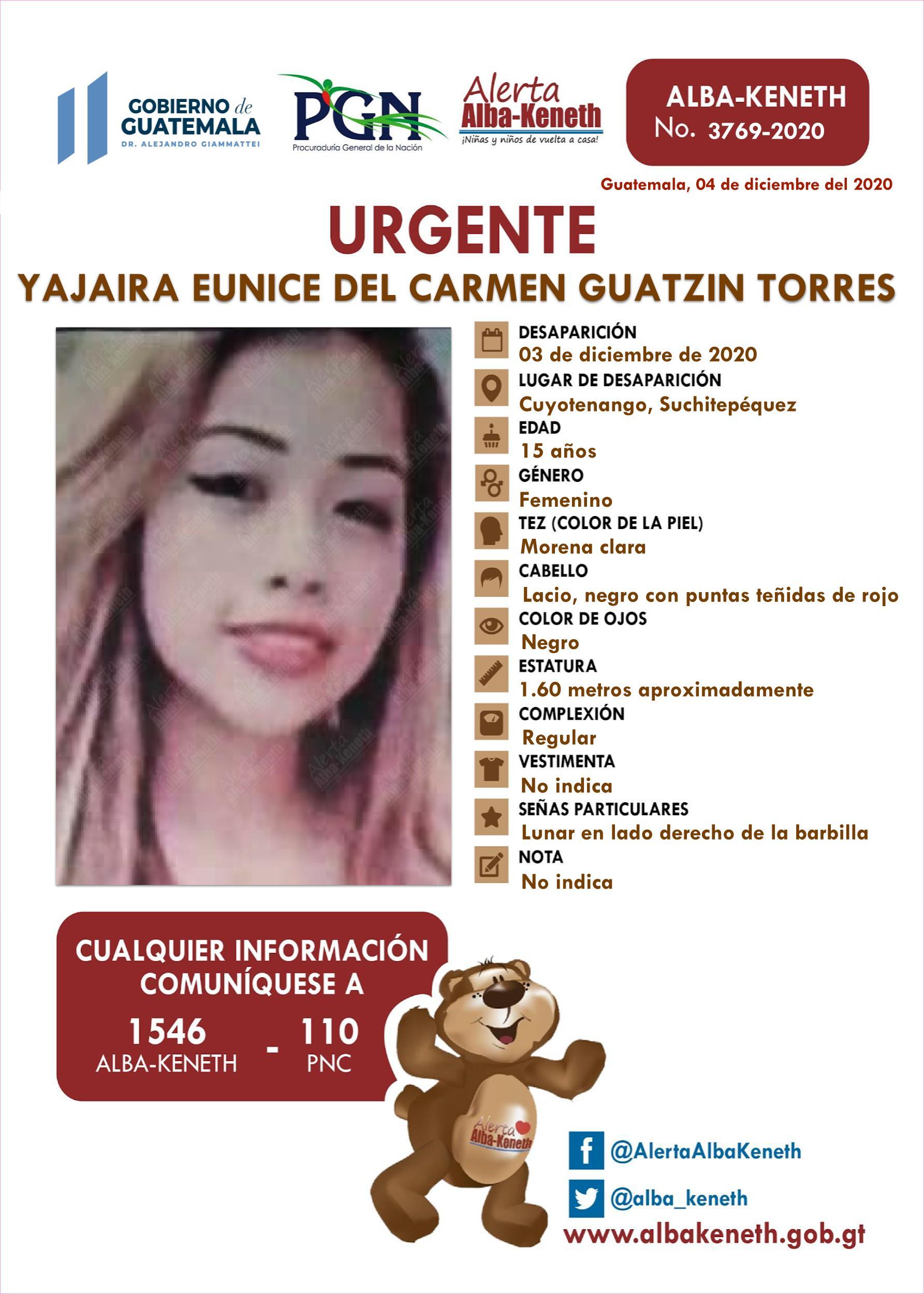 Yajaira Eunice del Carmen Guatzin Torres
