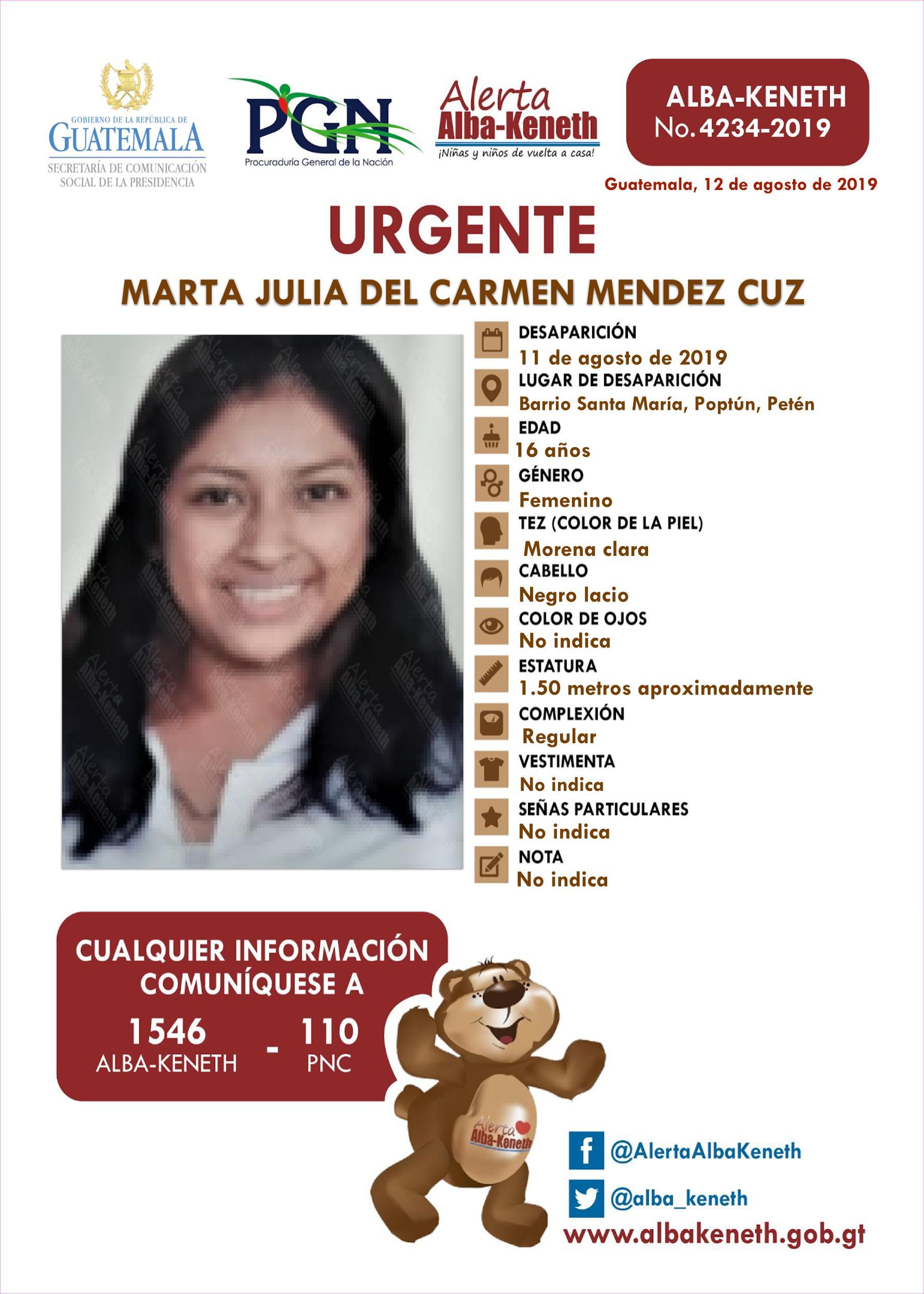 Marta Julia del Carmen Mendez Cuz