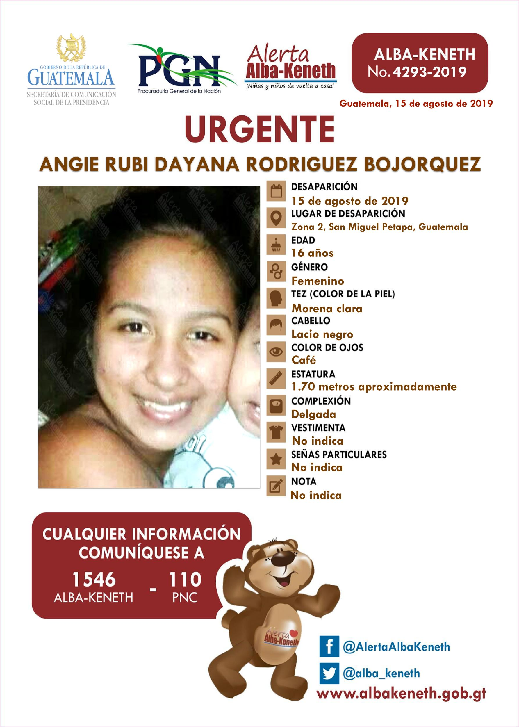 Angie Rubi Dayana Rodriguez Bojorquez