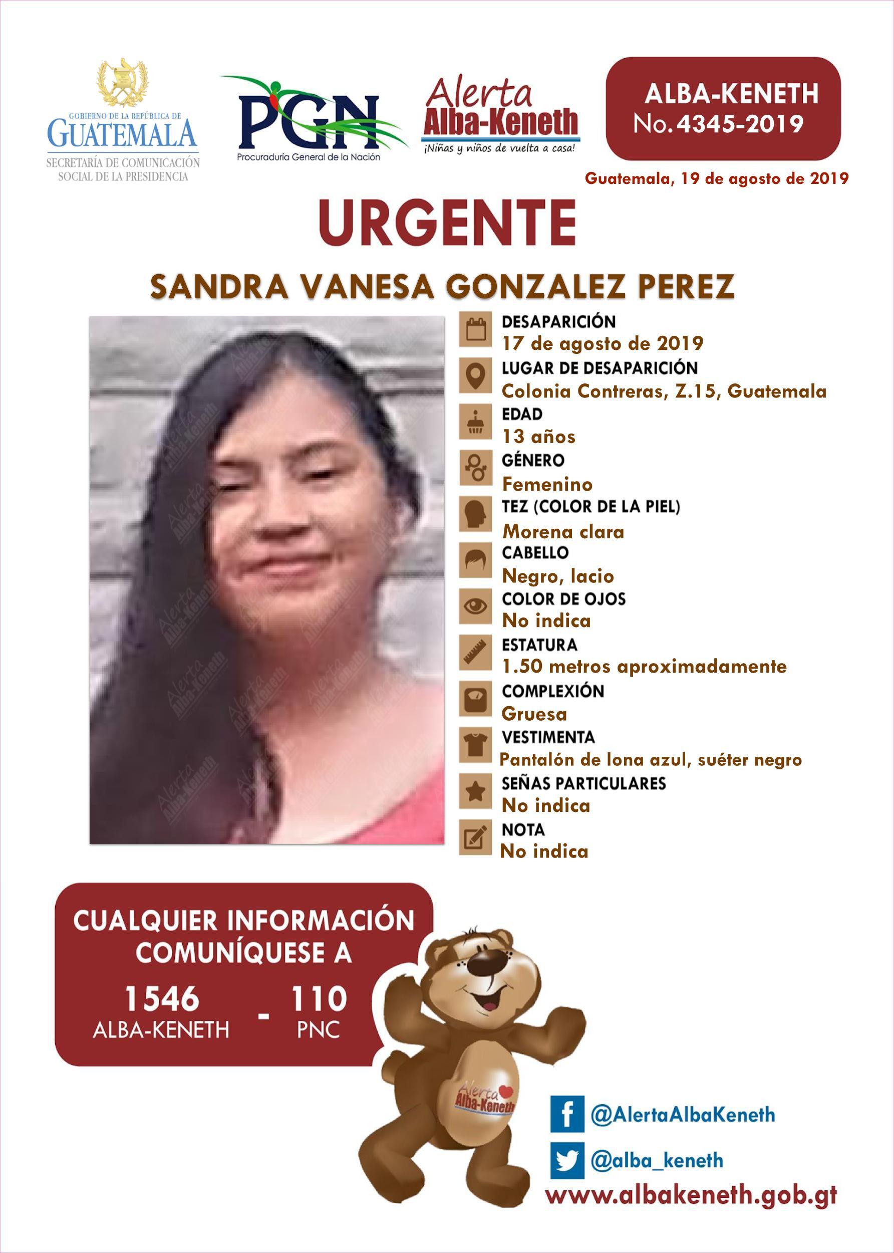 Sandra Vanesa Gonzalez Perez