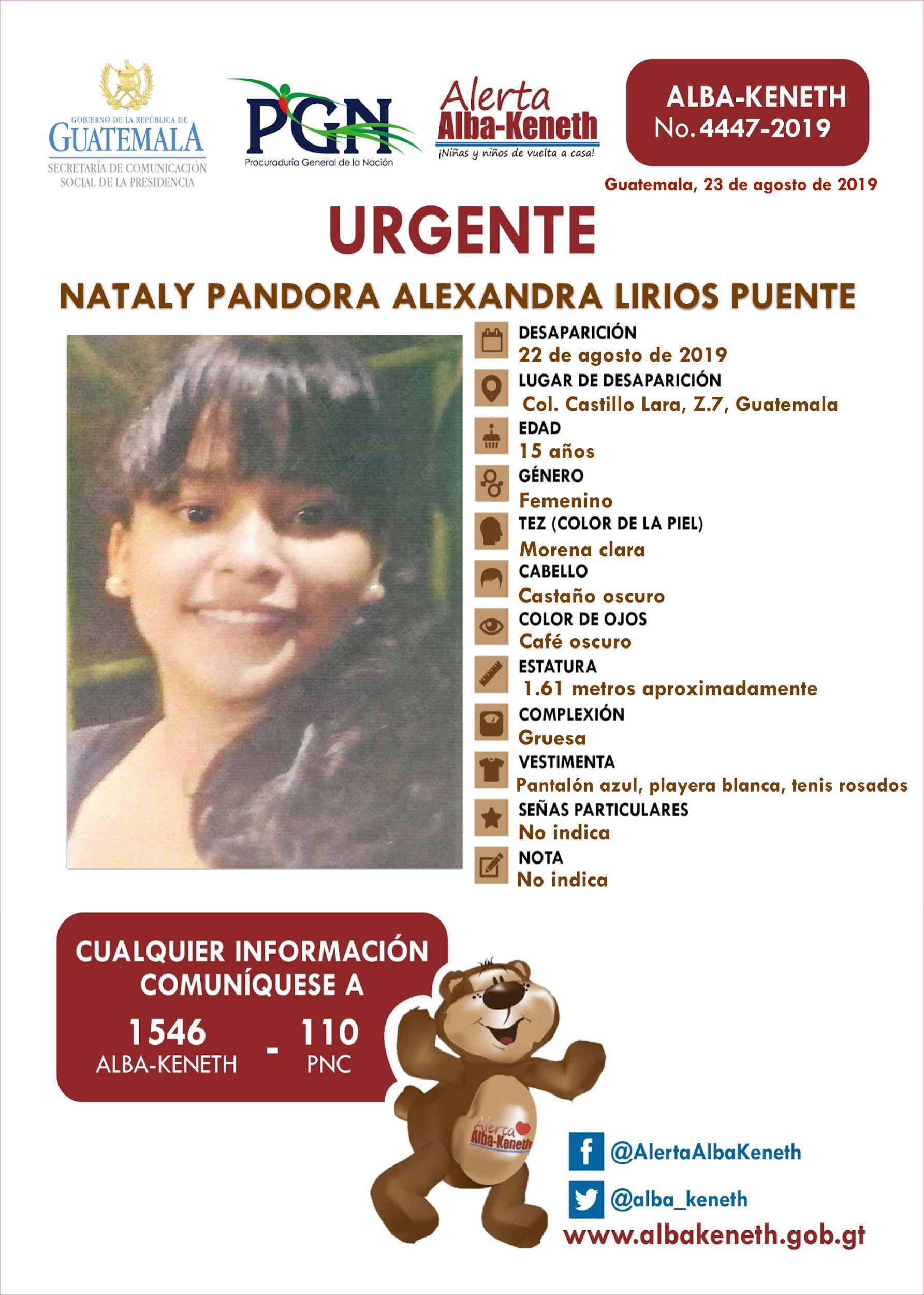 Nataly Pandora Alexandra Lirios Puente