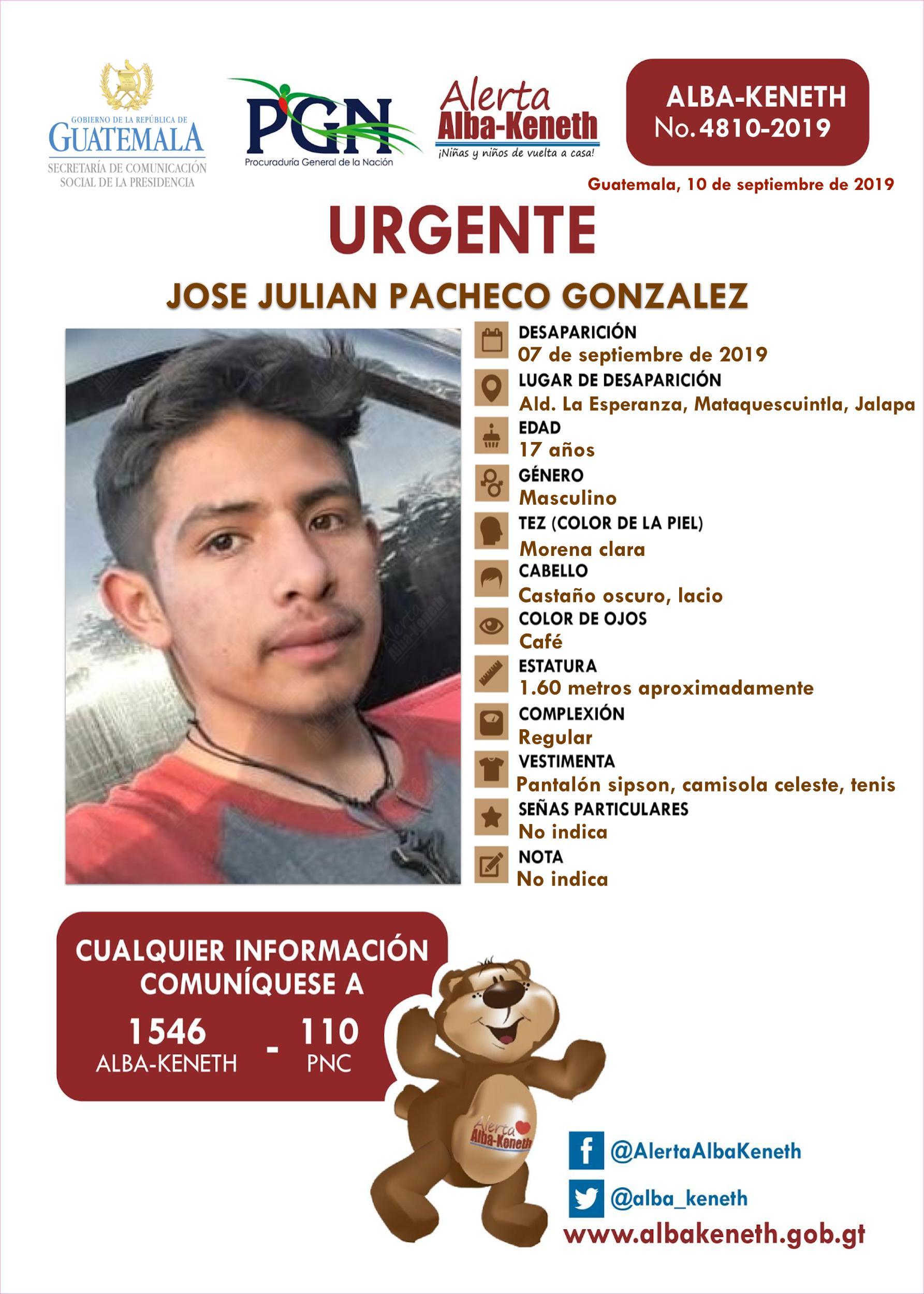 Jose Jualian Pacheco Gonzalez