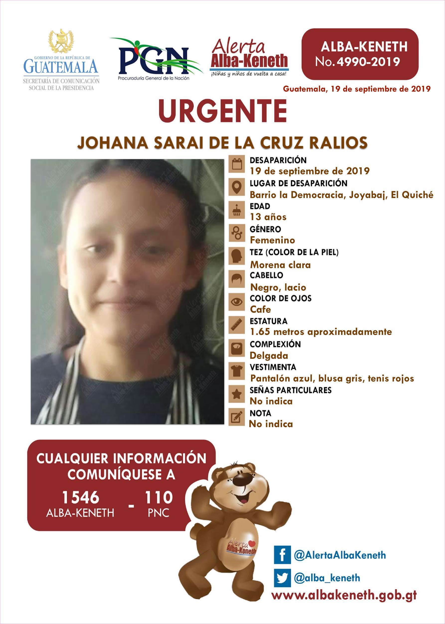 Johana Sarai de la Cruz Ralios